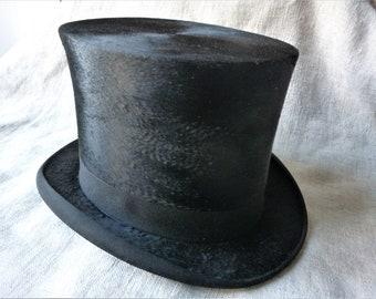 c914ab1e196 Antique French silk top hat maker A. Delion Paris. small size.