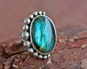 SALE 15% Labradorite Ring Sterling Silver Cocktail Size 8 1/2 Eclipse Silversmithed Metalsmithed