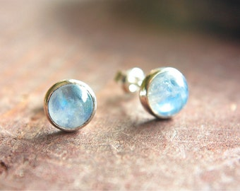 Rainbow Moonstone Studs Sterling Silver Little Tiny Earrings Silversmithed Metalsmithed