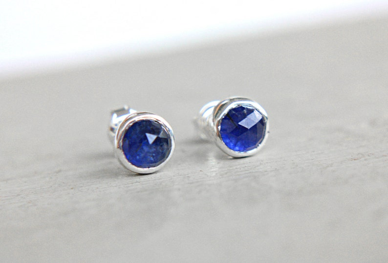 5bbe60589 Blue Sapphire Studs Sterling Silver Little Tiny Blue Natural | Etsy