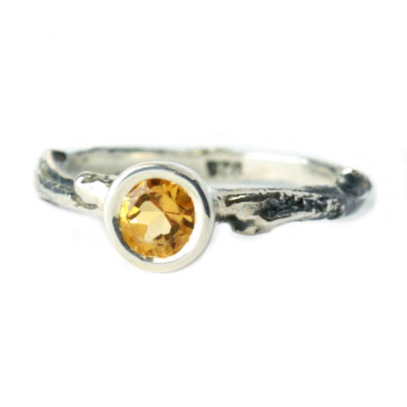 Sale 50 Off Citrine Twig Engagement Ring Sterling Silver Etsy
