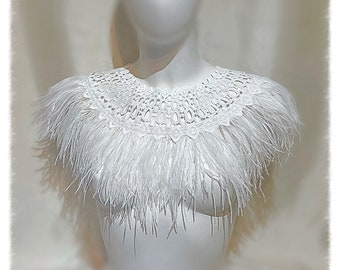White Ostrich Feather and lace Cape Wedding cover up, Feather Necklace.