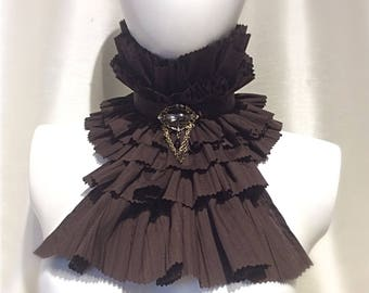 Brown Cotton Jabot, Cravat, Ruffle, Frilly Collar Steampunk, Whitby, Gothic