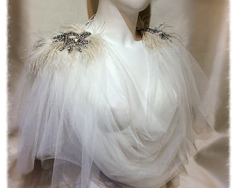 Amazing Grace Ivory Tulle Cowl Neck top Shoulder Adornment.