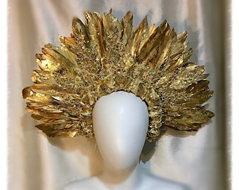 Sun Queen Gold Feather and Gold Sequin lace Halo Headdress, 1920, 1930, Crown, Burning man, Goddess Headdress.