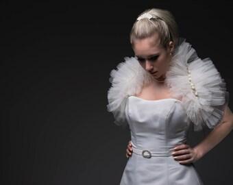 ba7bd08c1b1a2 Theatre de Paris Tulle Ivory Net Bridal Wedding Wrap, Stole, Cover up.
