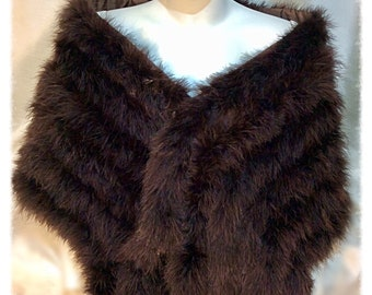 Garbo Hollywood 6 Tail Luxury Chocolate Brown Marabou Feathers Wrap stole with 10 Mink Style Tails. One off a Kind.