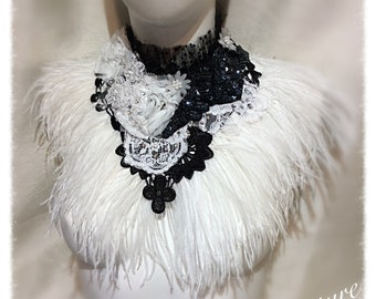 Black and White Lace & Ostrich Feather Collar Vintage Style Victorian Gothic, Whitby, Mantle Collar.y