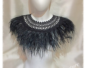 Black Ostrich Feather and Lace Collar, Cape, Necklace, Cover up, Feather neck