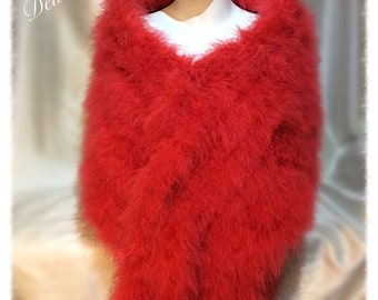 Garbo Hollywood 7 Tail Luxury Red Marabou Feathers Wrap stole with 10 Mink Style Tails. One off a Kind.