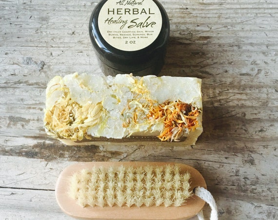 GARDENER'S HAND KIT {Tucked in a burlap bag, natural scrubbing anti-microbial hand soap, healing herbal salve & wooden nail brush}