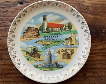 VINTAGE PLATE, Nebraska, The Cornhusker State, Famous Attractions, Gold Rim