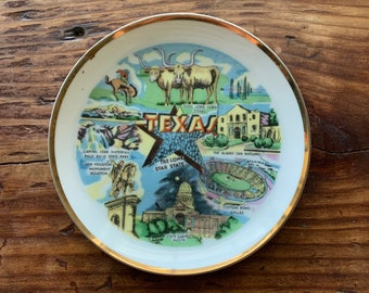 VINTAGE PLATE, Texas, Long Horn State, Famous Attractions, Gold Rim