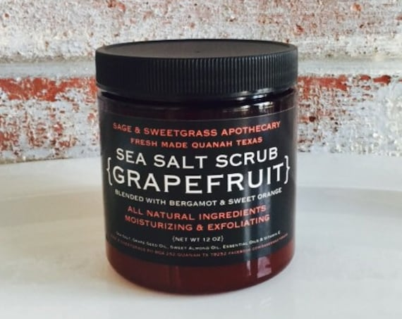 GRAPEFRUIT BERGAMOT SCRUB {Sea Salt Body Scrub, Grapefruit, Bergamot, Sweet Orange Essential Oil}