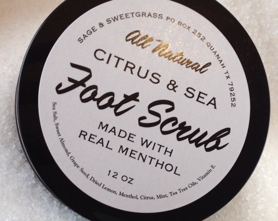 FOOT SCRUB {Sea Salt, Peppermint, Lemon, Tea Tree & Menthol}
