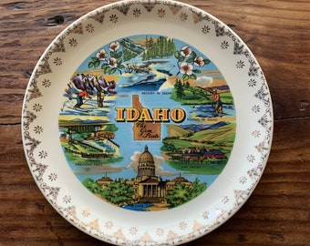 VINTAGE PLATE, Idaho, The Gem State, Famous Attractions, Gold Rim