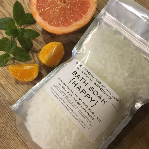 HAPPY BATH SOAK {Cheerful, Uplifting, Energizing, Sweet Orange, Grapefruit, Peppermint, Kid Friendly}