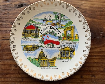VINTAGE PLATE, Mississippi, The Magnolia State, Famous Attractions, Gold Rim