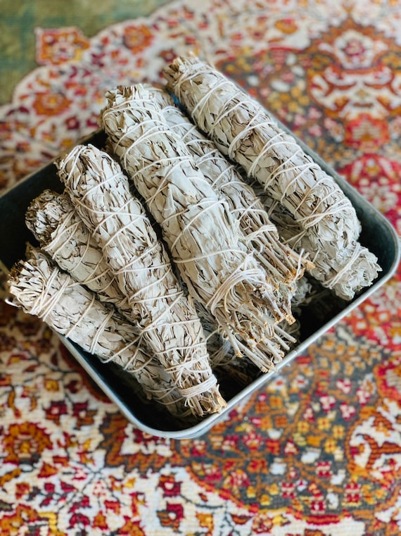 WHITE SAGE BUNDLE (8-9 inches, Ceremonial Sage, Salvia Apiana, Purify, Energy Cleansing, Sacred Tool, Bug Repellent)