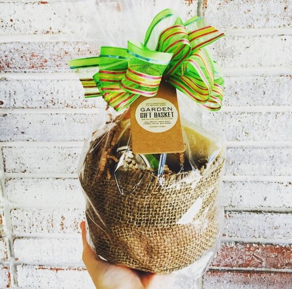 GARDENING GIFT BASKET {Year Round Gift, Burlap Bag,Gardening or Kitchen Hand Soap,Herbal Salve,Bug Repellent, Nail Brush, Shears Optional}