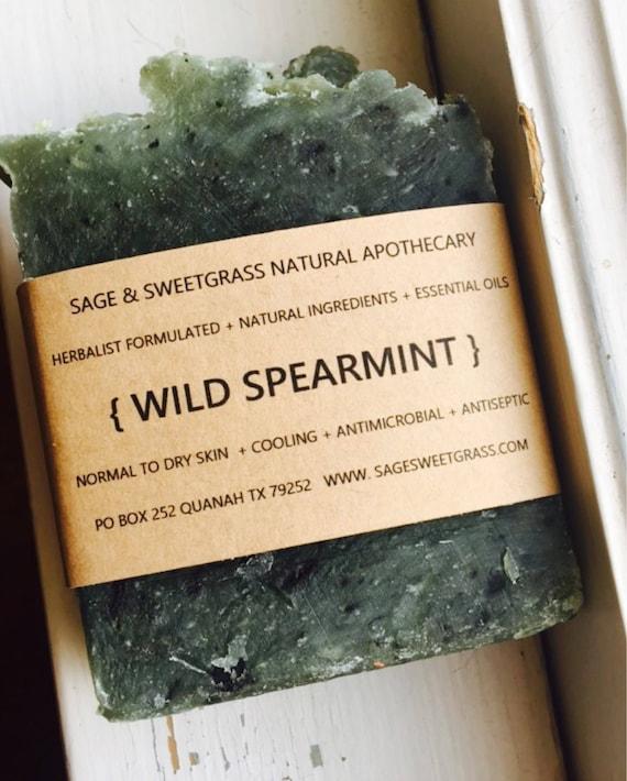 WILD SPEARMINT SOAP {Fresh Spearmint, Mint, Lemon Balm Herbs & Spearmint Essential Oil, French Green Clay}