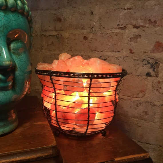 SALT LAMP BASKET {Ionic Himalayan Sea Salt Basket Lamp, Naturally Clean Air, Wedding Anniversary House Gifts, Yoga Studio}