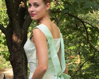 1950s Green Taffeta New Look Garden Party Dress