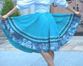1950s Aqua Circle Skirt with Rick Rack
