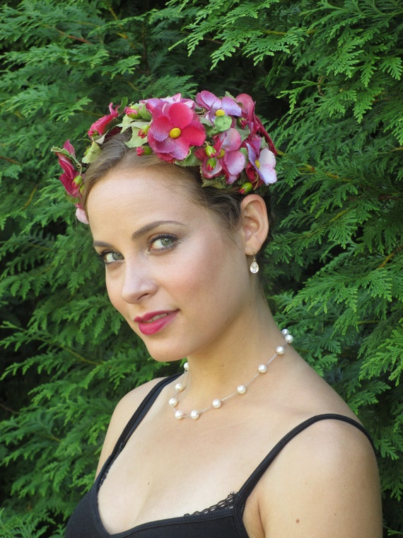 1950s 1960s Summer Goddess Floral Flower Child Hat