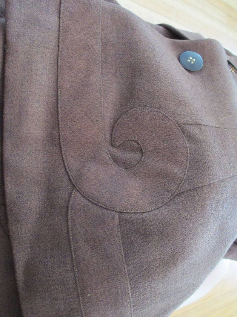 1940s WWII Era Brown Wool Suit with Most Excellent Detailing