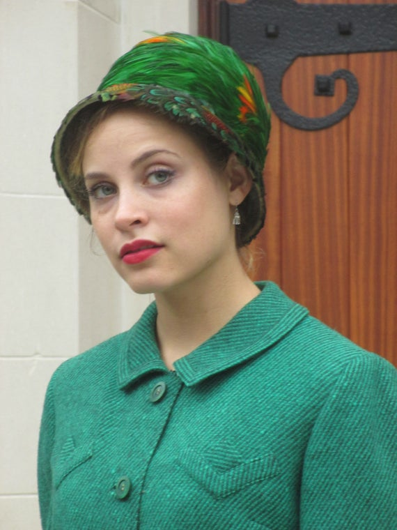 1950s Stunning Green   Orange Evelyn Varon Feather Hat  39a9d618568