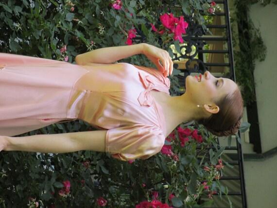 1940s Pink Liquid Silk Satin Evening Dress