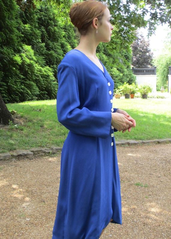 Pauline Trigere Royal Blue Silk Dress - image 2