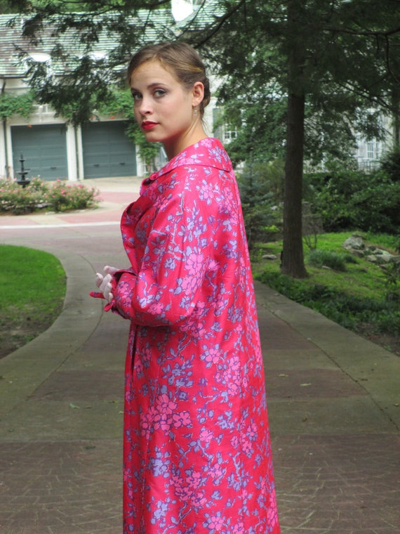 1950s Hot Pink Floral Silk Lawrence of London Rain