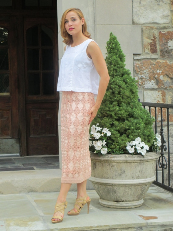 Vintage Hand-Woven Knit Silk Ribbon Skirt - Italia