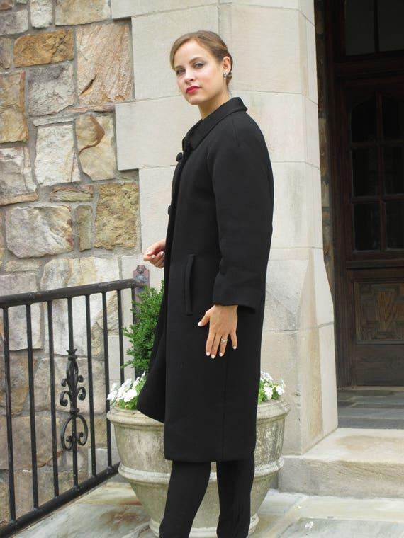 Outstanding 1960s Ben Zuckerman Black Wool Coat wi