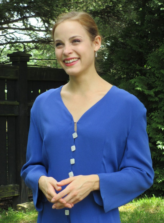 Pauline Trigere Royal Blue Silk Dress