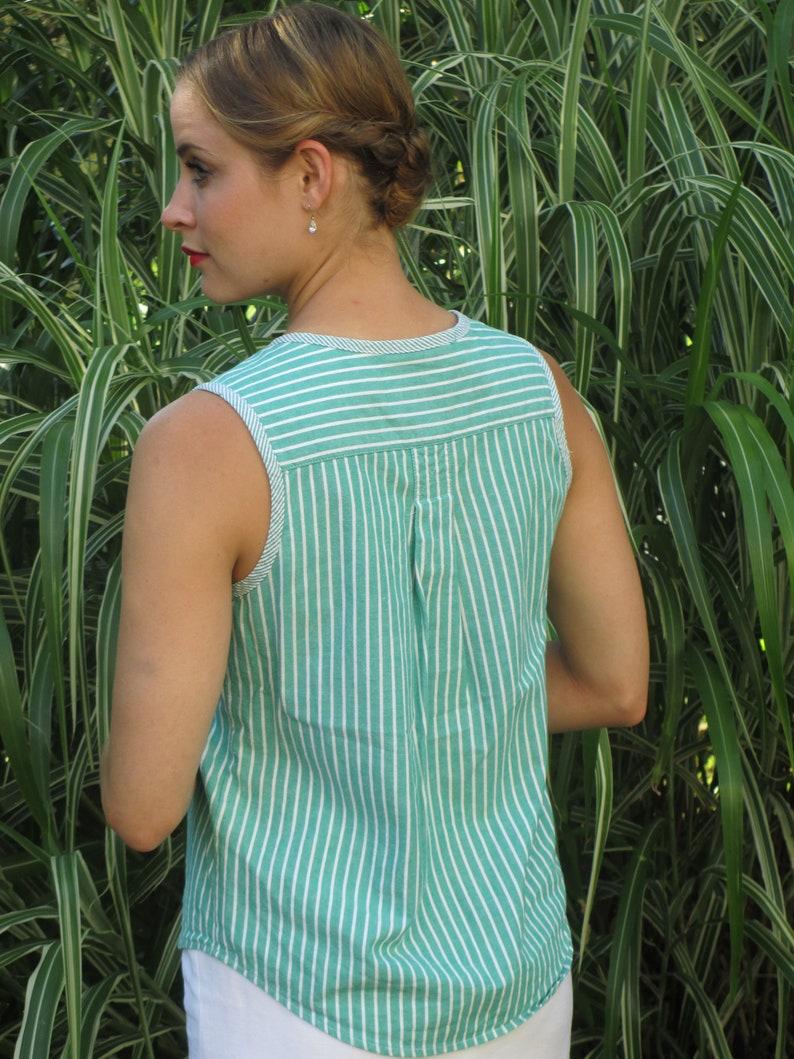 1990s Sleeveless green striped blouse Susan Bristol