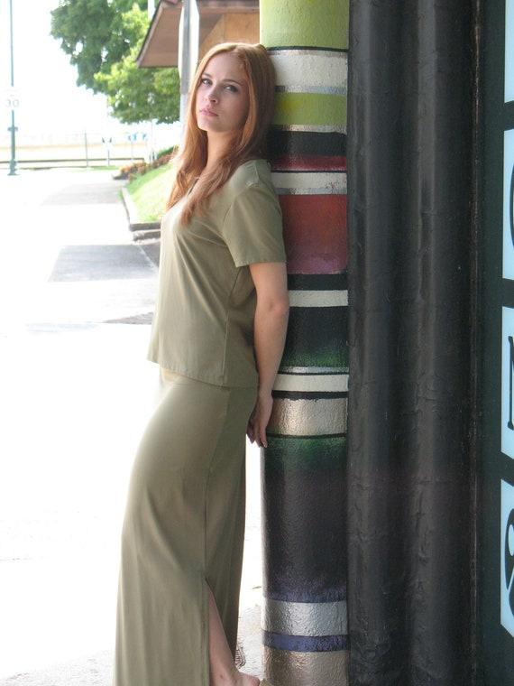 1970s Halston Olive Green Skirt & Top Ensemble