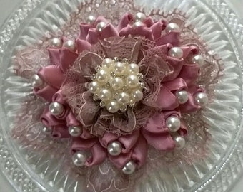 Handmade Ribbon Flower Lace Flower With Pearls  (3-1/4 inches) In Mauve MY- 720-05 Read To Ship
