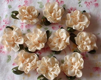 10 Handmade Flowers With Leaves (1 inch, With leaf 1-1/4) In Cream MY-029 - 129 Ready To Ship