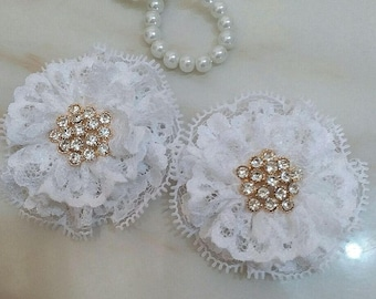 2 Lace Flowers With Rhinestone In White (2.5 inches)  MY- 685-02 Ready To Ship