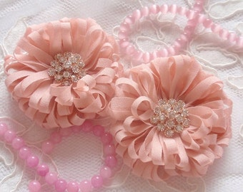 2 Handmade Fabric Flowers Chiffon Flower With Rhinestone In 2.5 inches MY- 319-01 Read to Ship