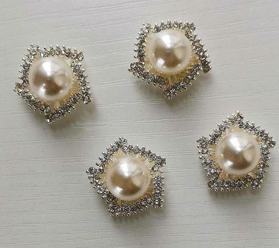 20er Perlen Rhinestone Flatback Knöpfe Buttons Hochzeitskleid Tasche