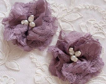 2 Lace Flowers With Rhinestone Pearl (3 inches)  MY-680 Ready To Ship
