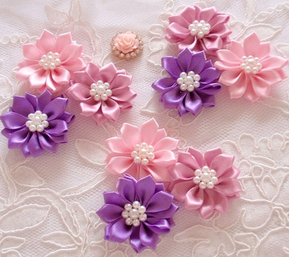 9 ribbon flowers ribbon roses with pearls in pearl pink mightylinksfo