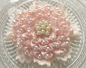 Handmade Ribbon Flower Lace Flower With Pearls  (3-1/2 inches) In Sideshow Rose MY- 735-163 Read To Ship