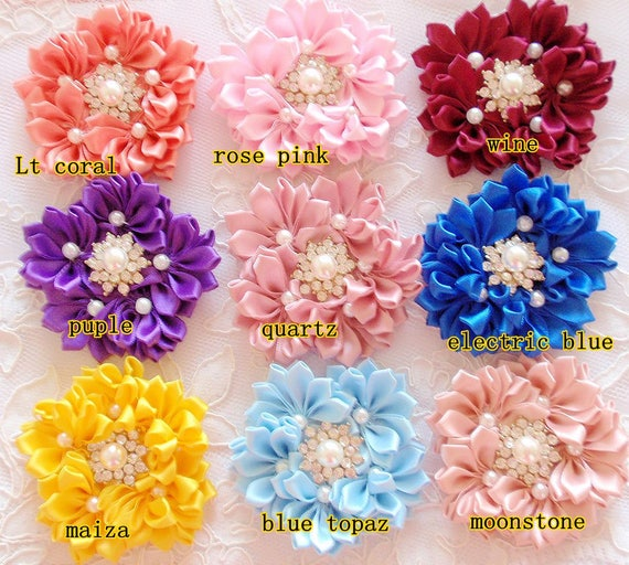 Color Swatch Singed Flowers Fabric Flower Satin Flowers Color Chart 6 Color Swatches Craft Flowers