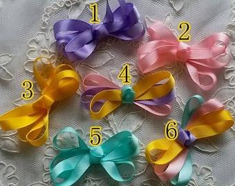 On Sale - 6 Handmade Satin Ribbon Bows ( 2-3/4 x 1.5 inch)  MY- 693-05 Ready To Ship