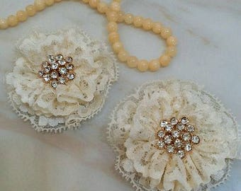2 Lace Flowers With Rhinestone In Cream (2.5 inches)  MY- 685-01 Ready To Ship